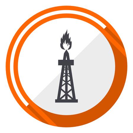 Gas flat design orange round vector icon in eps 10