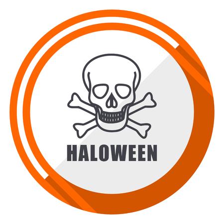 Haloween skull flat design orange round vector icon in eps 10