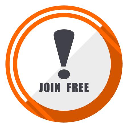 Join free flat design orange round vector icon in eps 10 Illustration