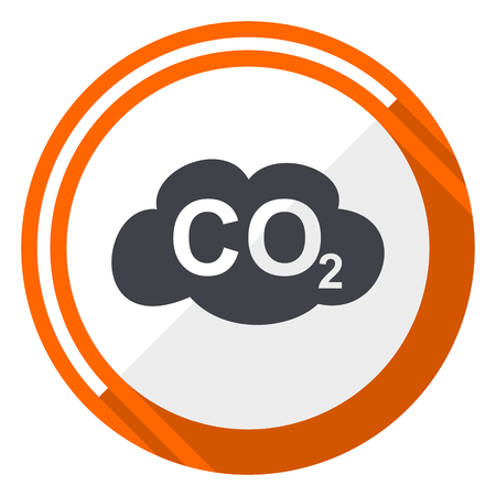 Carbon dioxide flat design orange round vector icon in eps 10
