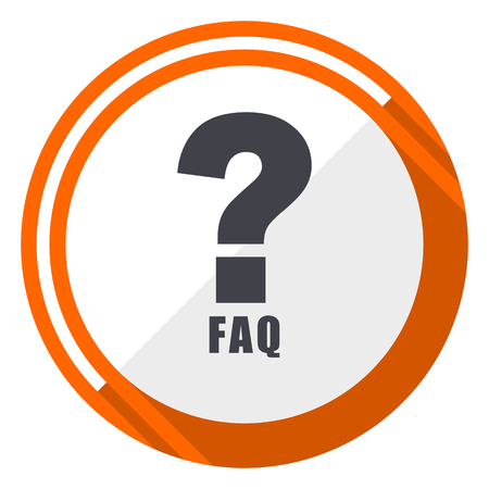 Faq flat design orange round vector icon in eps 10 Illustration