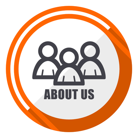 About us flat design orange round vector icon in eps 10