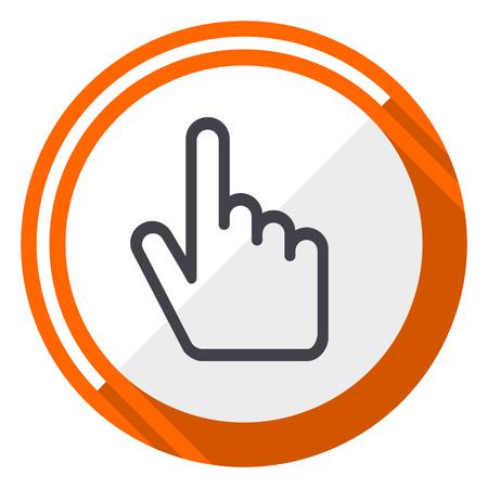 Cursor hand flat design orange round vector icon in eps 10