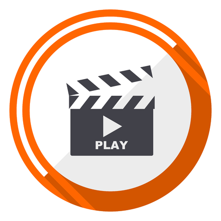 Video flat design orange round vector icon in eps 10