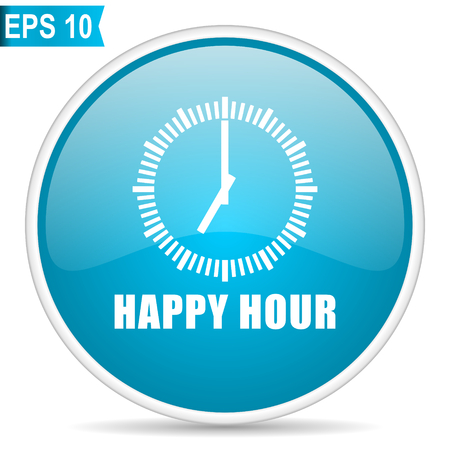 Happy hour blue glossy round vector icon. Editable modern design internet button on white background.