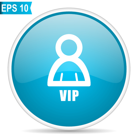 Vip blue glossy round vector icon. Editable modern design internet button on white background. Illustration