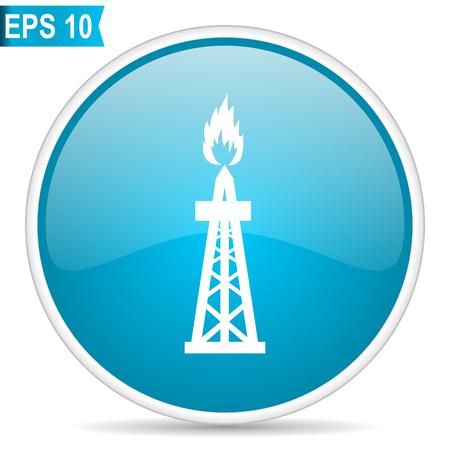 Gas blue glossy round vector icon. Editable modern design internet button on white background.