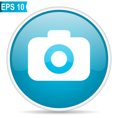 Photo camera blue glossy round vector icon. Editable modern design internet button on white background.