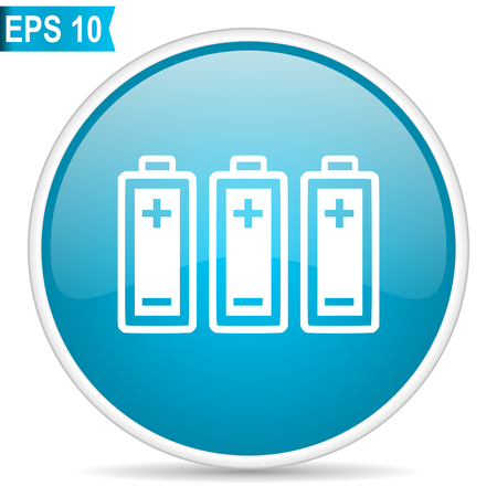 Battery blue glossy round vector icon. Editable modern design internet button on white background.