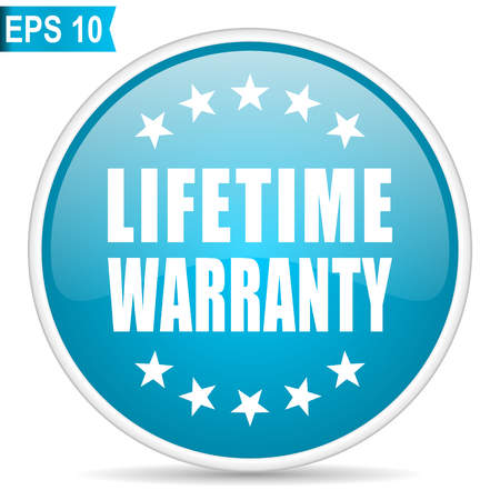 Lifetime warranty blue glossy round vector icon. Editable modern design internet button on white background.
