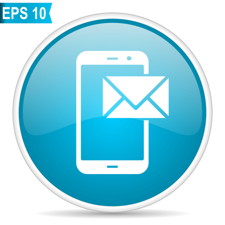Mail blue glossy round vector icon in eps 10. Editable modern design internet button on white background.