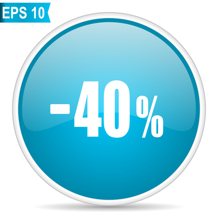 40 percent sale retail blue glossy round vector icon Çizim