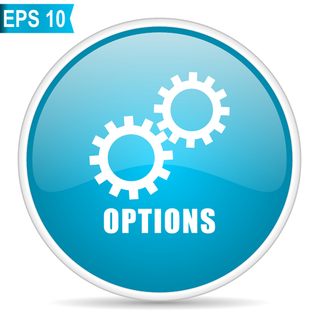 Options blue glossy round vector icon Stock Illustratie