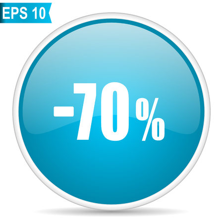 70 percent sale retail blue glossy round vector icon