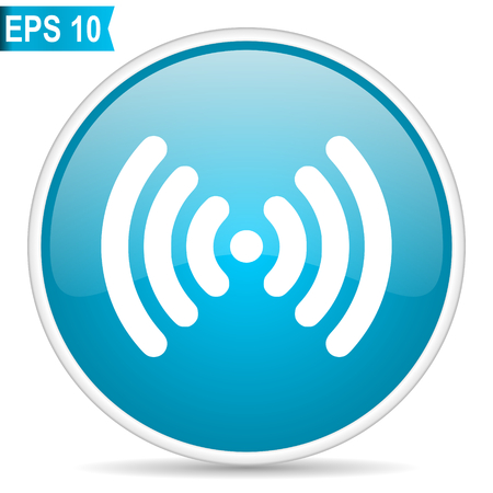 Wifi blue glossy round vector icon