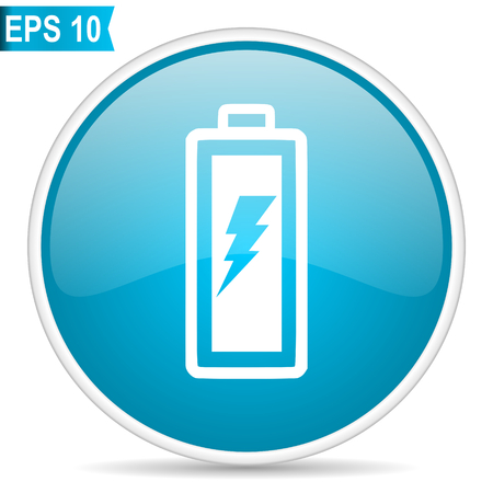 Battery blue glossy round vector icon Illustration