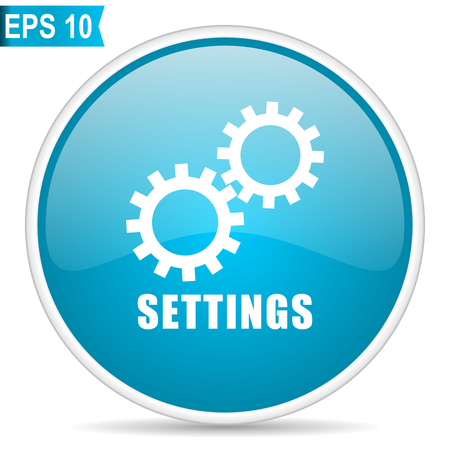 Settings blue glossy round vector icon in eps 10. Editable modern design internet button on white background.