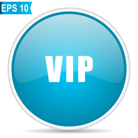 Vip blue glossy round vector icon in eps 10. Editable modern design internet button on white background. Illustration
