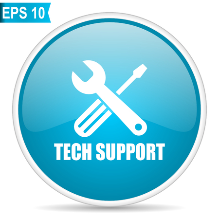 Technical support blue glossy round vector icon in eps 10. Editable modern design internet button on white background.