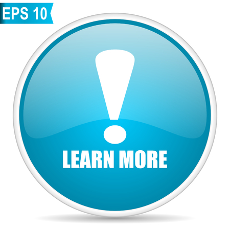 Learn more blue glossy round vector icon in eps 10. Editable modern design internet button on white background.