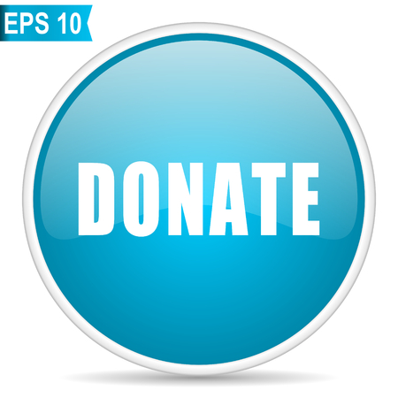 Donate blue glossy round vector icon in eps 10. Editable modern design internet button on white background.