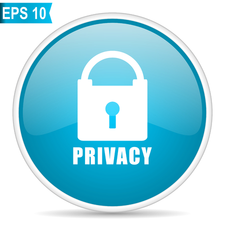 Privacy blue glossy round vector icon in eps 10. Editable modern design internet button on white background. Illustration