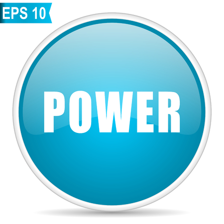Power blue glossy round vector icon in eps 10. Editable modern design internet button on white background. Illusztráció