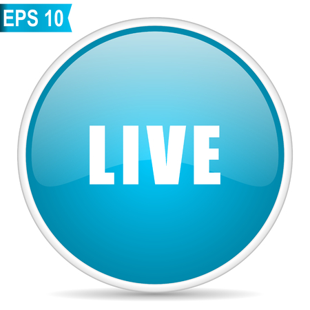 Live blue glossy round vector icon in eps 10. Editable modern design internet button on white background.