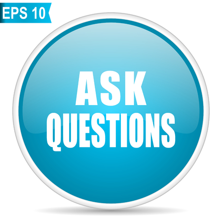 Ask questions blue glossy round vector icon in eps 10. Editable modern design internet button on white background.
