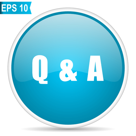 Question answer blue glossy round vector icon in eps 10. Editable modern design internet button on white background. Иллюстрация