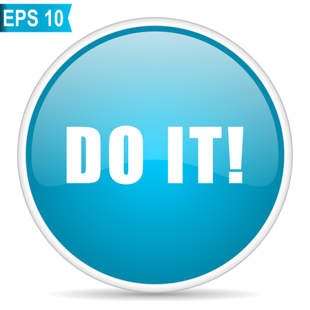 Do it blue glossy round vector icon in eps 10. Editable modern design internet button on white background.