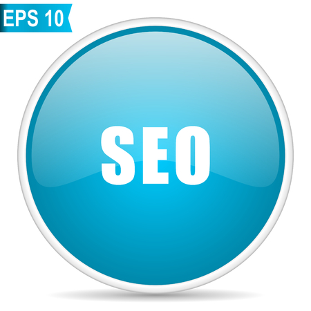 Seo blue glossy round vector icon in eps 10. Editable modern design internet button on white background.