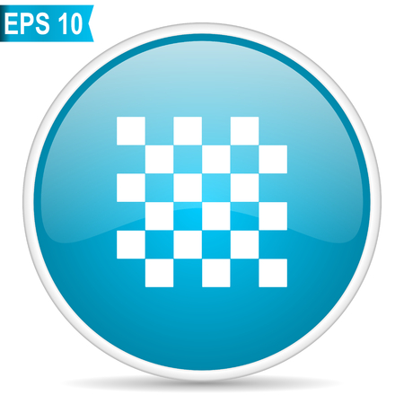 Chess blue glossy round vector icon in eps 10. Editable modern design internet button on white background.