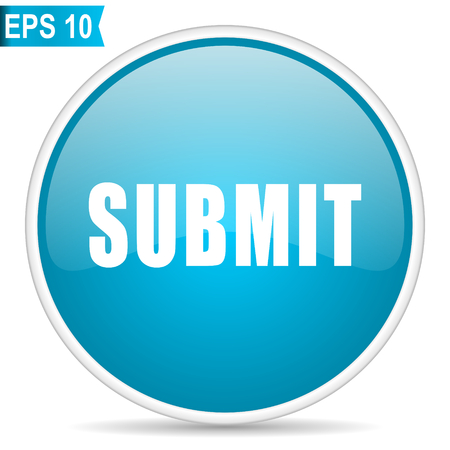 Submit blue glossy round vector icon in eps 10. Editable modern design internet button on white background.