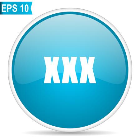 XXX blue glossy round vector icon in eps 10. Editable modern design internet button on white background.