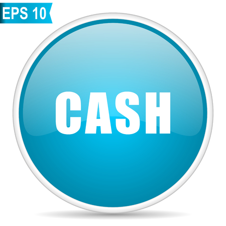 Cash blue glossy round vector icon in eps 10. Editable modern design internet button on white background.