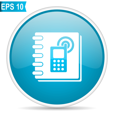 Phonebook blue glossy round vector icon in eps 10. Editable modern design internet button on white background.