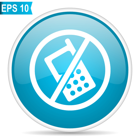 No phone blue glossy round vector icon in eps 10. Editable modern design internet button on white background.