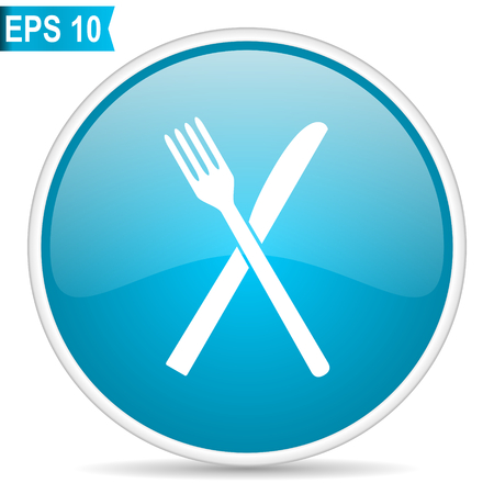 Restaurant blue glossy round vector icon in eps 10. Editable modern design internet button on white background. Illustration