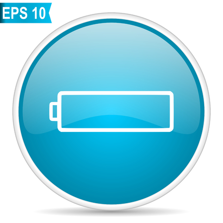 Battery blue glossy round vector icon in eps 10. Editable modern design internet button on white background. Çizim