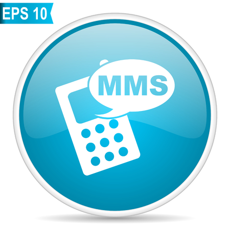 Mms blue glossy round vector icon in eps 10. Editable modern design internet button on white background. Illusztráció