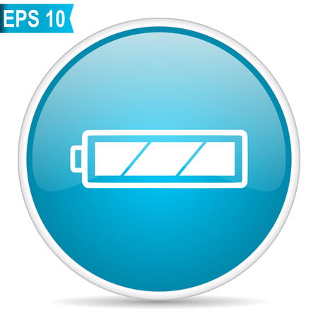 Battery blue glossy round vector icon in eps 10. Editable modern design internet button on white background. Illustration