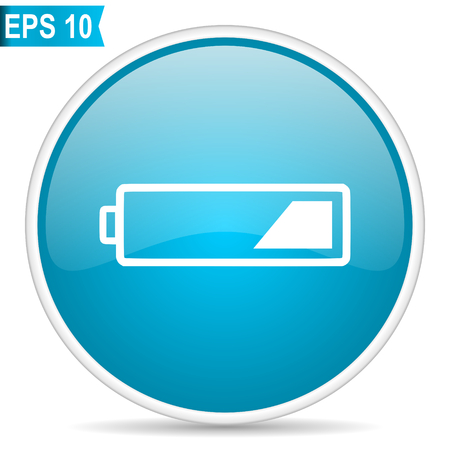 Battery blue glossy round vector icon in eps 10. Editable modern design internet button on white background. Stock Vector - 100232019