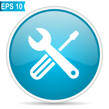 Tools blue glossy round vector icon. Editable modern design internet button on white background.