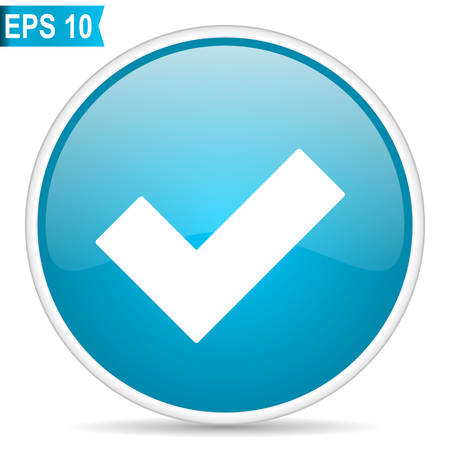 Accept blue glossy round vector icon in eps 10. Editable modern design internet button on white background. 일러스트