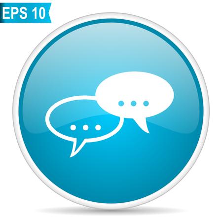 Forum blue glossy round vector icon in eps 10. Editable modern design internet button on white background. Illustration