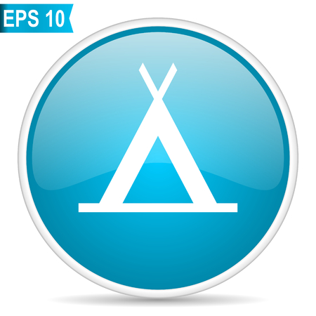 Camp blue glossy round vector icon in eps 10. Editable modern design internet button on white background.
