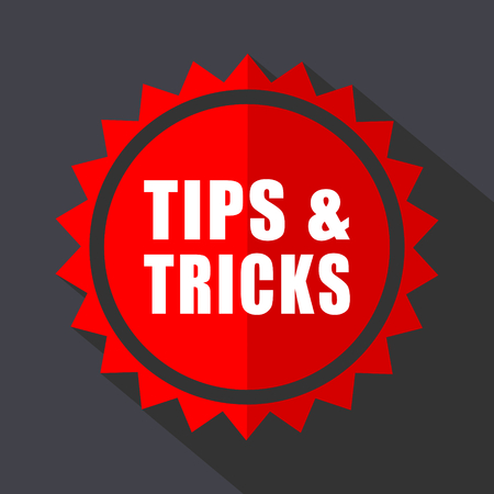 Tips tricks red sticker flat design vector icon Illustration