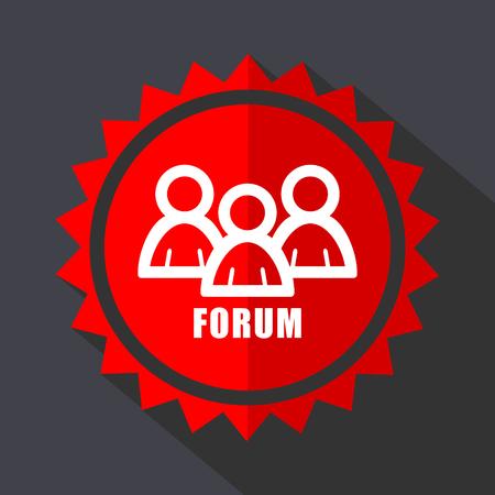 Forum red sticker flat design vector icon isolated on dark background. Illustration