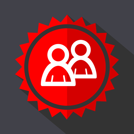 Forum red sticker flat design vector icon